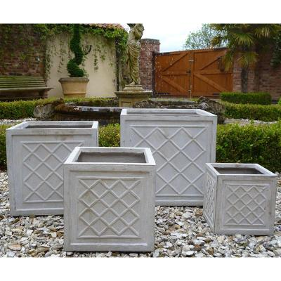 Dalby Cube Planter, Set of 4 - in Stone